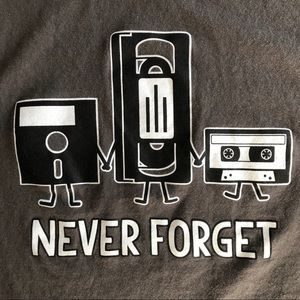 NEVER FORGET Floppy Disk VHS Cassette Graphic T